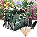 10 Piece Garden Tool Kit, Gardening Tool Set with Zippered Detachable Storage Tote Bag, Folding Stool Seat with Backrest and 5 Gardening Tools