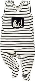Pinokio Happy Day - Baby Mädchen Strampler Baumwolle, Grau mit Stern oder Schwarz Weiß hi - Strampelanzug Schlafanzug, Mädchen Stars