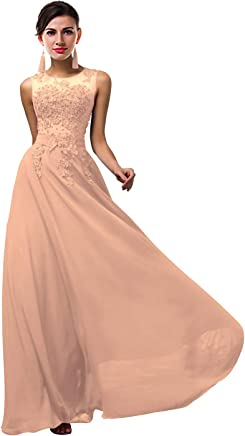 4c3b927733 Lily Anny Women Long Sheer Neck Evening Bridesmaid Dresses Prom Gowns L004LF