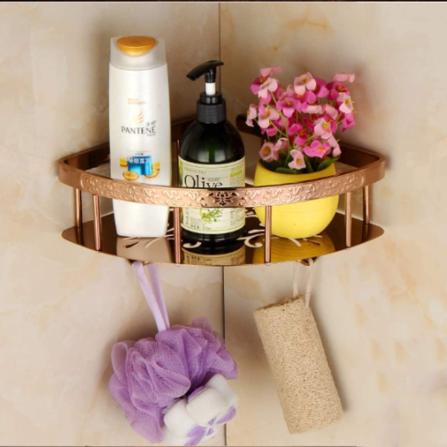 Rack- Chrome-Plated Solid Copper Solid Triangle Basket, Bathroom Single Layer with Hook Corner Rack (color   pink gold, Size   A)