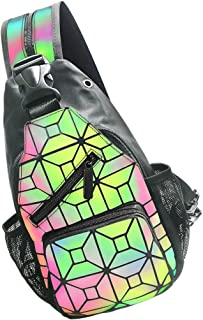 PYFK Geometric Backpack Luminous Holographic Color Changes Flash Reflective Crossbody Bag Fashion Shoulder Bag for Women Men