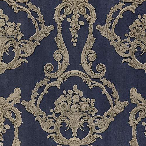 DebonA LUXUS Damask 3D Effekt Floral Blatt Trail Motiv VIKTORIANISCH MUSTER Tapete - 6216 blau