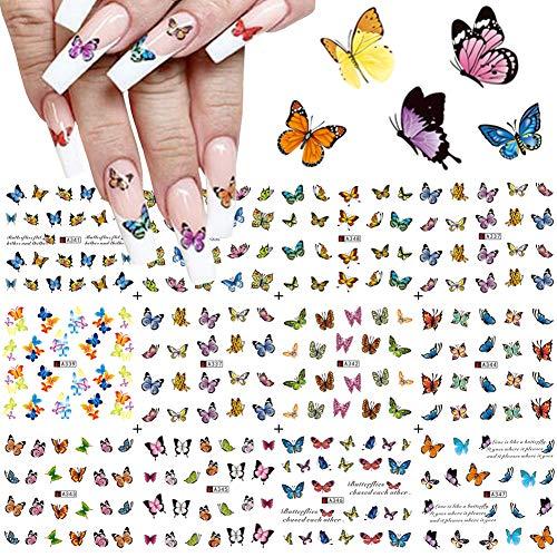 Pegatinas de mariposa para decoración de uñas, suministros de agua, pegatinas de mariposa, coloridas para decoración de uñas, mariposas, diseños de transferencia de uñas