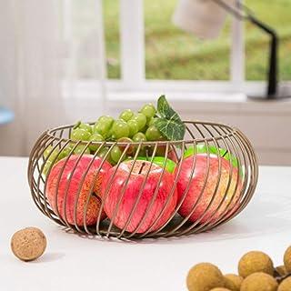 Fruit Basket Fruit métal légumes stockage bols de cuisine Egg Holder Paniers Nordic Minimalisme AOIWE (Color : Brass)