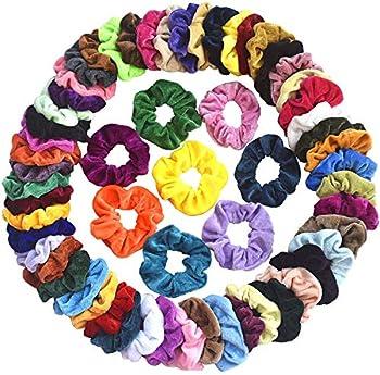 60-Pieces Mcupper Velvet Elastic Hair Scrunchies