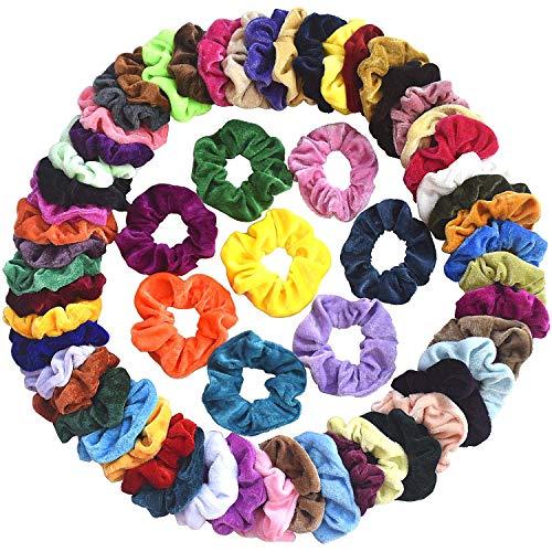 Mcupper 60 Pcs Hair Scrunchies Velvet Elastic Hair Bands Scrunchy Hair Ties Ropes Scrunchie for Women Girls Hair Accessories - 60 Assorted Colors Scrunchies