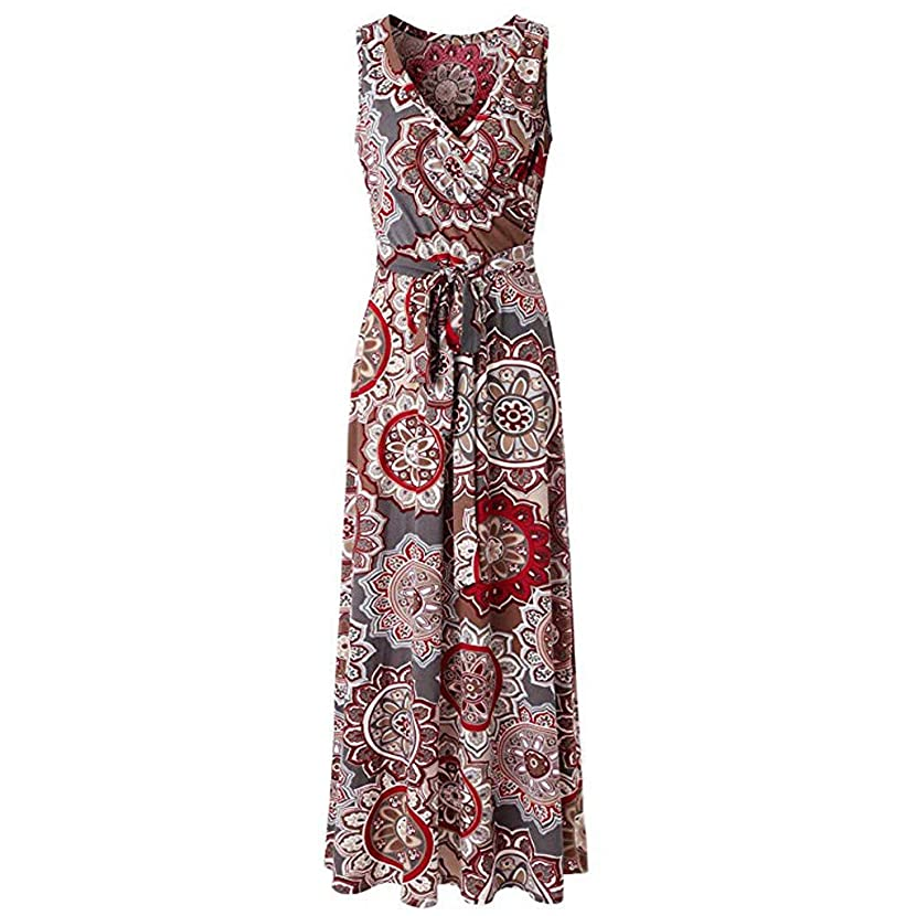 LYN Star ? Women's Summer V Neck Floral Maxi Dress Casual Long Dresses Bohemian Printed Wrap Bodice Crossover Dress
