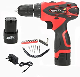 Cordless Hammer Drill Tool Kit, 29Pcs Household Power Tools Drill Set with 16.8V Lithium Driver Claw 18+1 Torque Impact Ha...