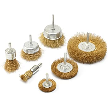 7pc Brass Wire polishing Brush Wheel & Cup Set brass cup brush with 1/4-Inch Shank 0.13mm true brass wire