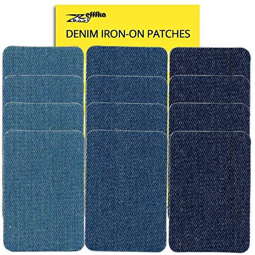 Zefffka Molto Piccolo Toppa Denim Termoadesiva Patches Toppe da Stiro Le Tonalità Del Blu 30 pezzi Per Jeans Cotone Kit Di Riparazione da 2,5 cm a 3,5 cm