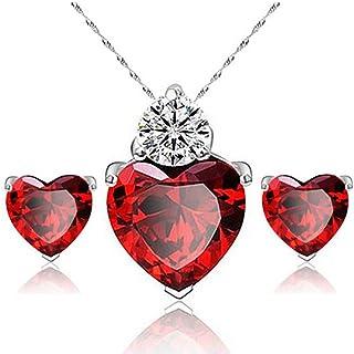 Bullidea Necklace Earrings Diamond Heart Style Elegant Women Jewellery Crystal Set of Crystal Pendant Necklace+Earrings