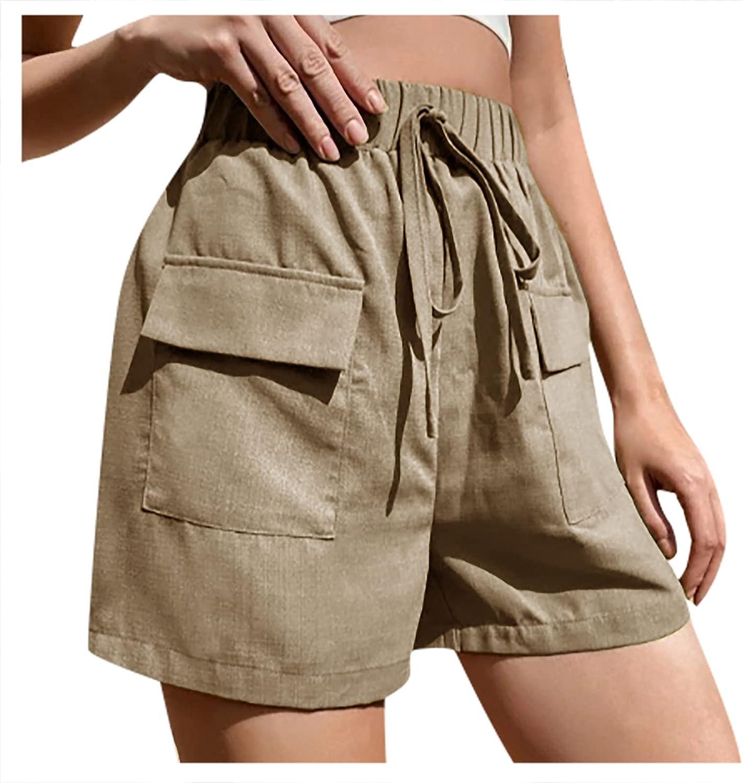 VonVonCo Women Cargo Shorts Pants Casual Pure Cotton Loose Plus Size Pants Pocket Drawstring Trousers