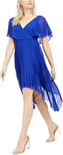 KENSIE Womens Blue Pleated Solid Short Sleeve V Neck Knee Length Hi-Lo Party Dress AU Size:6