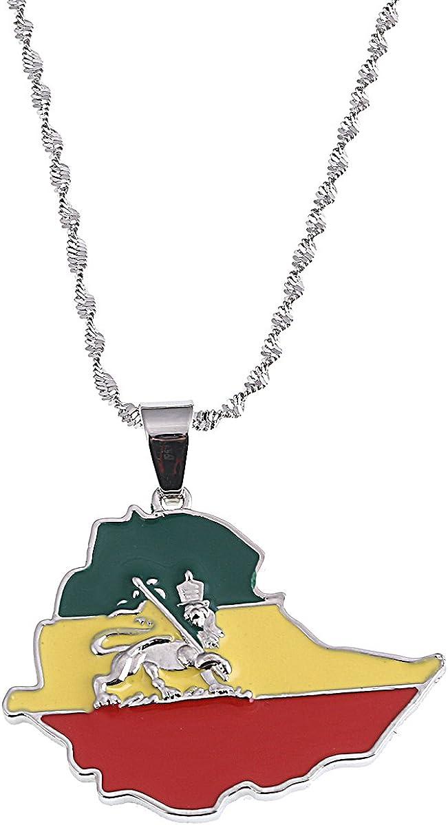 Ethiopian Flag Lion Map Pendant Necklace for Women Men Jewelry Map Chain