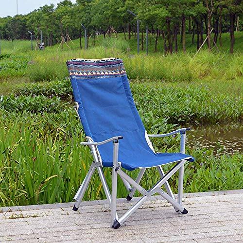 MJY Outdoor Aluminiumlegierung Camping Stuhl Klappstuhl Sessel Angeln Stuhl Tragbare Gartenstuhl-Camp, Grill, Strand, Angeln-Load120Kg fgj/Blau / 48x58x107cm