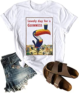 Wellove Lovely Day for A Guinness Letter Print T-Shirt Women Funny Toucan Graphic Print Short Sleeve Beach Casual Tee Top