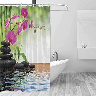 QIAOQIAOLO Bath Splash Guard Spa Decor Composition Bamboo Tree Floor Mat Orchid and Stones Wellbeing Greenery Image Pattern Easy Installation W36 xL84 Polyester