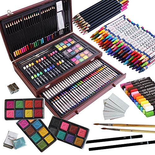 143 Piece Deluxe Art Set, Artist Drawing&Painting Set, Art Supplies with Wooden...