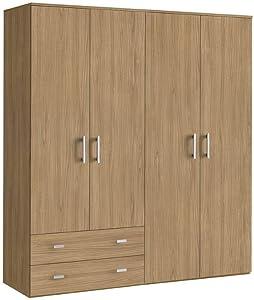 Armoire Moderne en Bois, 4 Portes + 2 tiroirs, Noix Marron, 161x52 207H
