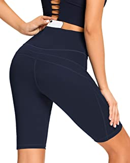 AS ROSE RICH Workout Shorts for Women with 3 Pockets High Waist Spandex Yoga Biker Shorts Regular and Plus Size