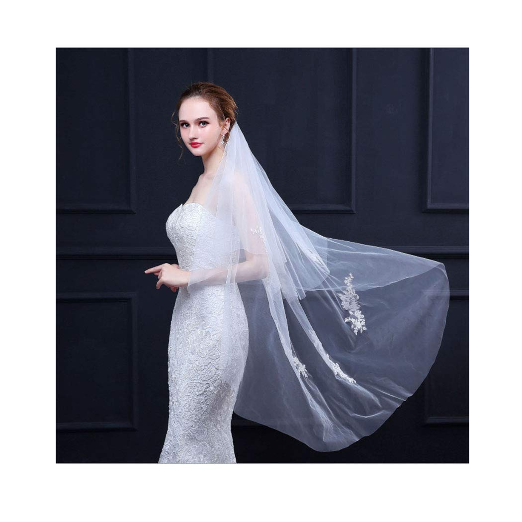 Campsis 2 Tier Bride Wedding Veil 47 '' Long Length Bridal Veil Tulle Hair Accessories with Comb and Cut Edge
