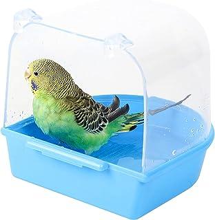 Baignoire Bird,Baignoire Suspendue Fournitures de Cage à Oiseaux avec Crochets, Perroquet Baignoire Transparente à Suspend...