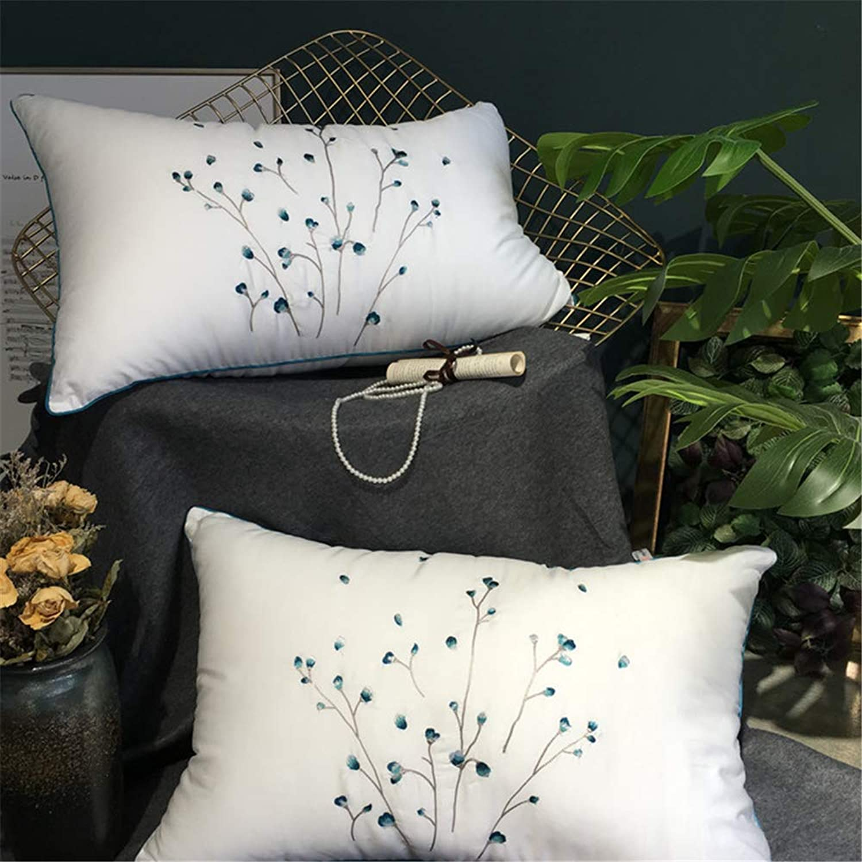Pinellia Oreiller en Bambou Coussin en Velours de Coton avec Oreiller en Plumes de Velours, A