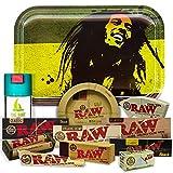 Bandeja para liar Bob Marley 27,5cm x 17,5cm + Cenicero RAW + Bote Antiolor THE BOAT + Maquina de liar 79mm + Papel Raw 1 1/4 Organic, Black y Classic + Tips Maestro, Orgánico y Classic + Cono