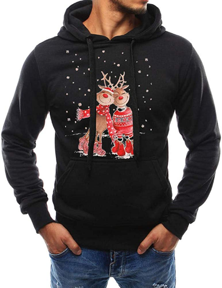 ASADVE Men's Christmas Print Lanyard Hoodie Sweatshirt Navy