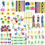 FUN LITTLE TOYS 100PCs Assortment Mini Toys Party Favor Boxes Including Slap Bracelets, Mini Cameras,Stamps,Yo-Yos and More for Goody Bags Fillers, Pinata Toys, Kids Party Favors