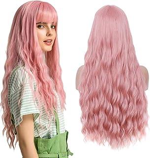 YMHPRIDE Pruik voor vrouwen Roze 28 inch lang krullende pruiken met pony Natuurlijke volledig synthetische pruik