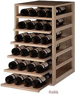 ZonaWine - Estantería botellero con 6 baldas extraibles para 42 Botellas se fabrica en Madera de Pino/Roble-Mide: 80/45,5/58 cm Fondo - Roble Macizo