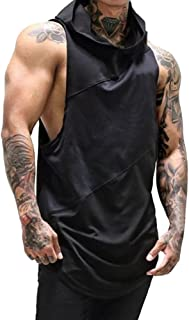 Mens Workout Hooded Tank Tops Sleeveless Gym Hoodies with Kanga Pocket Cool and Muscle Cut