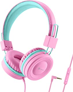 iClever Kids Headphones for Girls - Wired Headphones for Kids with MIC, Adjustable Headband, Foldable, Volume Control - Ch...
