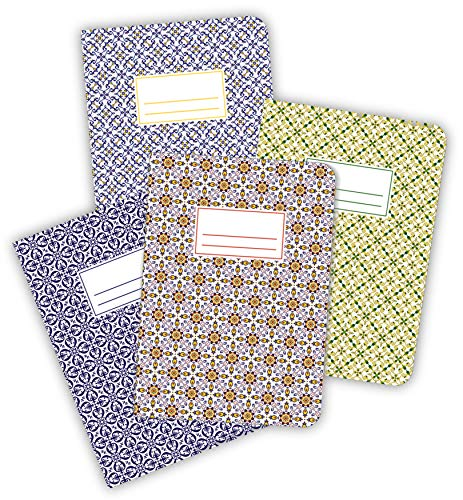 ArtUp.de 4er-Set Notizhefte Azulejos DIN A5 40 Seiten Inhalt blanko - vier verschiedene Hefte im Design der portugiesischen Kacheln - edel fein exklusiv außergewöhnlich