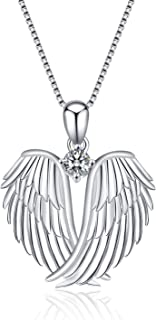 YFN Sterling Silver Guardian Angel Wings Necklace...