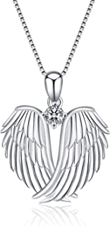 YFN 925 Sterling Silver Guardian Angel Wings Pendant Necklace Jewelry for Women Gifts (Necklace)
