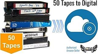 50 Pack - Video Tape Transfer and Digitization to MP4 Service (VHS, Hi8, MiniDV, Digital8, VHS-C, U-Matic, Beta, Audio) by Lotus Media…