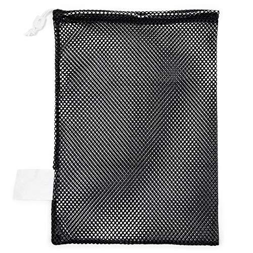 Champion Sports Mesh Sports Equipment Bag, Black, 12x18 Inches - Multipurpose, Nylon Drawstring Bag with Lock and ID Tag for Balls, Beach, Laundry