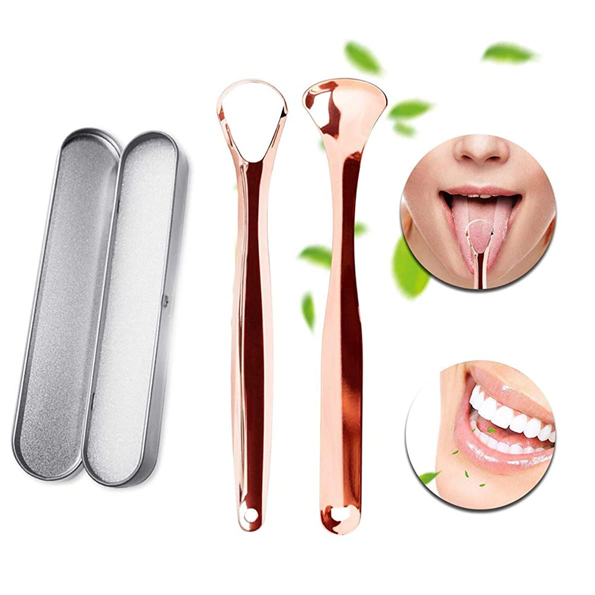 動機付けるトリクル電圧舌スクレーパークリーナー-キャリングケース付きステンレススチールオーラルクリーナーセット-口臭を抑え、新鮮な息を止め、口腔疾患を予防する