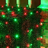 Set of 100 LED Red and Green Net Lights –Christmas Net Lights, Outdoor Christmas Decorations, Green Wire (4 x 6 ft, 5mm Lights, Red/Green)