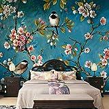 Papier peint intissé Mural Tableaux Fleurs et oiseaux verts 250x175 cm Photo Mural Trompe l oeil Convient pour la décoration murale de la salle à manger du salon