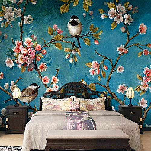 Papel tapiz fotográfico Fotomural 3D Flores verdes y pájaros 200x150 cm Papel pintado premium no tejido Mural Apto para sala de estar dormitorio Decoración de la papel tapiz