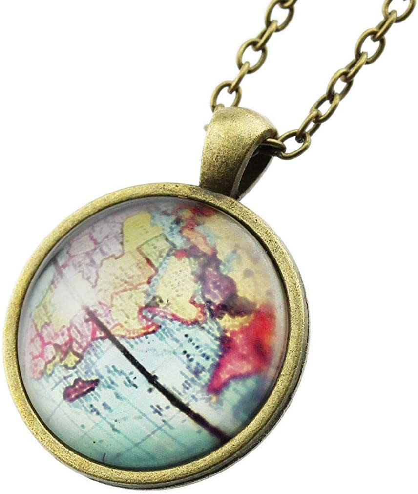 FOY-MALL Fashion Metal Glass Globe Pendant Chain Necklace XL1596N
