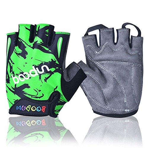 iwish Halb-Finger-Handschuhe für Kinder, dünn, Outdoor, Sport-Handschuhe, Fahrrad-Handschuhe für Kinder Größe L grün