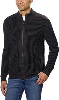 Men's Fisherman Ribbed Knit Cotton Mock Neck Sweater