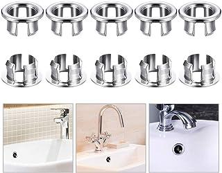 SPTwj Bassin Lavabo Trop-plein Anneau Bouchon de trop-plein pour salle de bain Cuisine Vanit/é Couvercles de trou de vidange rechange 5 mod/èles de conception diff/érents // 10 pi/èces au total // Chrome