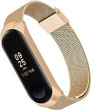 Simpeak Correa Compatible con Xiaomi Mi Band 3 (5.5-8.1 Pulgadas), Pulseras de Acero Inoxidable Wristband Repuesto Bandas Compatible con Xiaomi Mi Band 3 Fitness con Cerradura,Oro Rosa