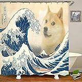 BNSDMM Neuheit Meme The Great Wave Doge Duschvorhang Shiba Inu In Great Wave Badezimmer Vorhang Lustiger Witz H& Welpe Tier Home Decor 180×200Cm