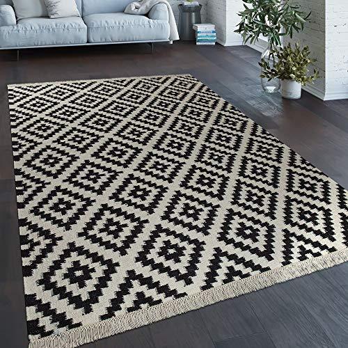 Vloerkleed Modern Marokkaans Patroon Handgeweven Scandinavisch Ruiten Franje Geel Wit, Maat:160x230 cm